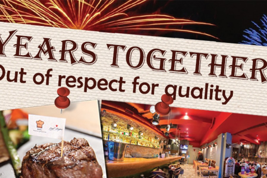 Red Angus Steakhouse, 5 years together, our of respect for quality