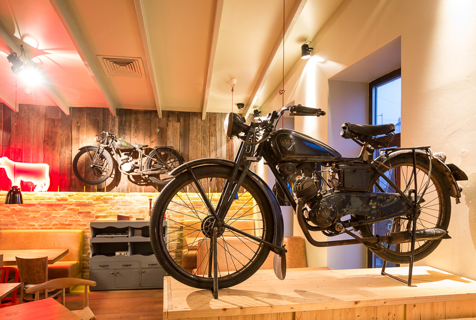 The retro motorcycles at Red Angus Steakhouse